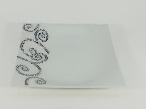 イッチン黒唐草 正角盛皿