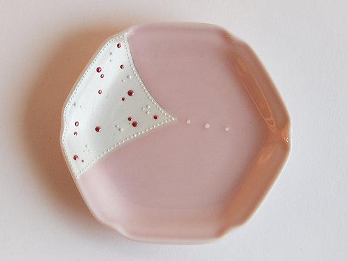 桃釉ドット 6角小皿