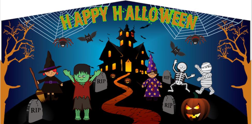 bounce house halloween banner