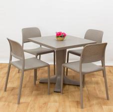 ריהוט גן יוקרתי שולחן גיוב 80 כסאות בורה ביסטרו
