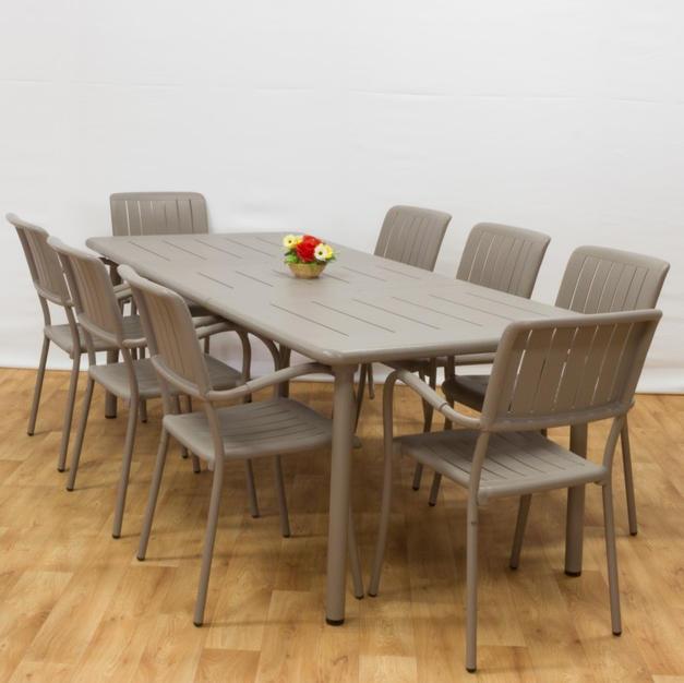 ריהוט גן משולב אלומיניום - שולחן הגדלה מיסטרל כסאות מוזה
