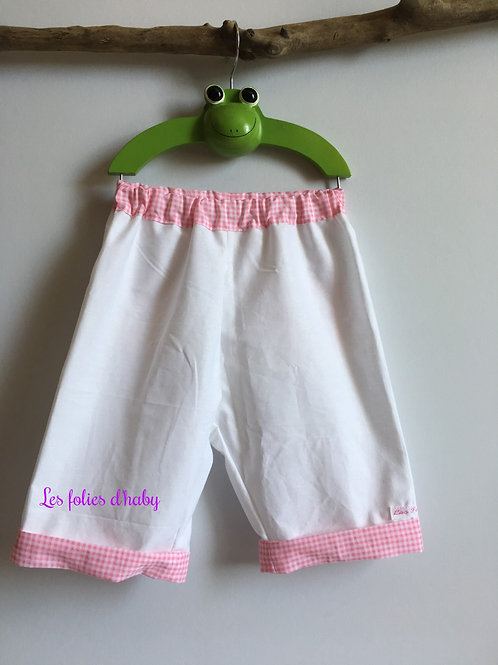 Pantalon blanc-vichy rose
