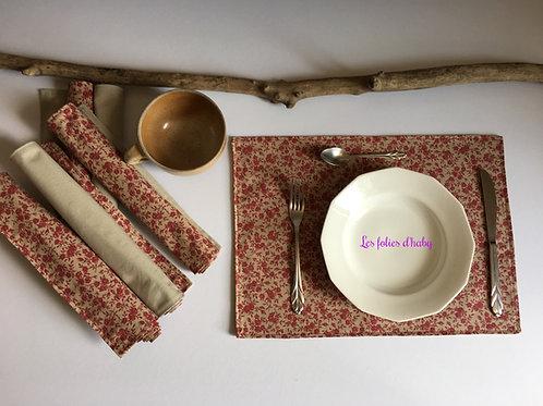 Set de table Rouge-bordeaux fleurs