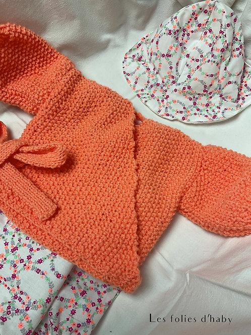 Gillet Cache Coeur orange-abricot