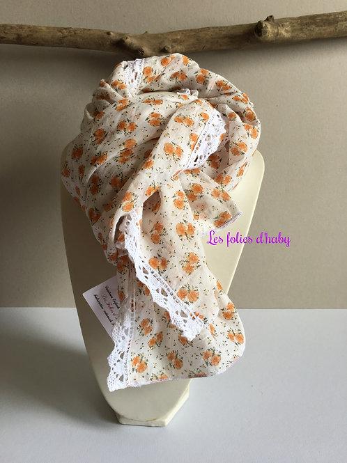 "Foulard ""fleurs orange"""