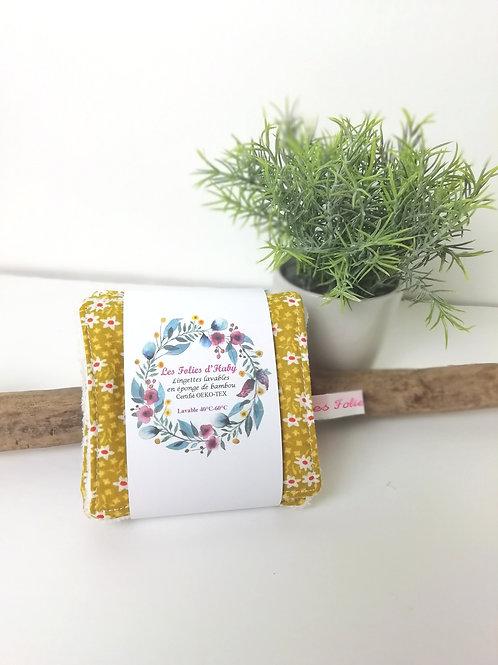 Lingettes démaquillantes bambou/fleurs (7)
