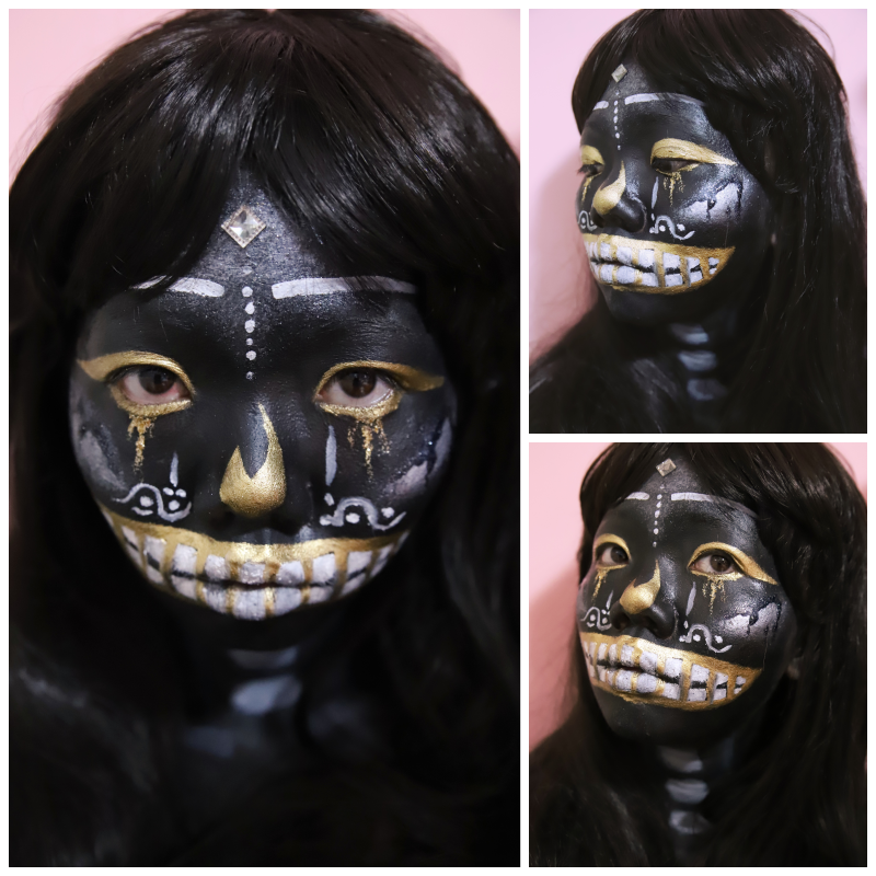 Golden Tears Black Skull Halloween