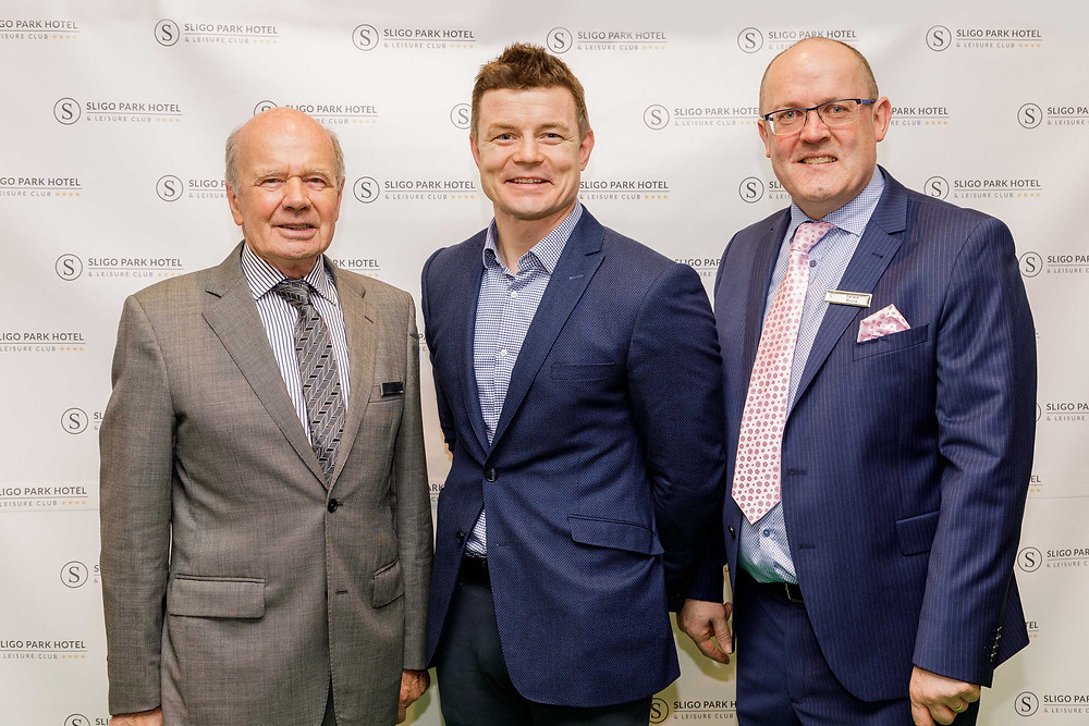 Lee Kidney, owner of Lee Hotels, with Gerard Moore, General Manager of Sligo Park Hotel and Brian O'Driscoll at The Green Suite