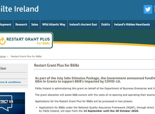 Restart Grant Plus for B&Bs Opens for Applications