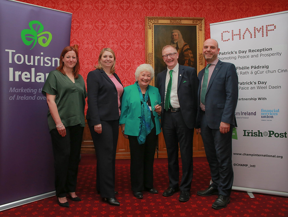 Julie Wakley, Tourism Ireland; Karen Bradley, Secretary of State for Northern Ireland; The Baroness Harris of Richmond; Senator Frank Feighan; and Mark Henry, Tourism Ireland, at the St Patrick's reception in the House of Lords in London