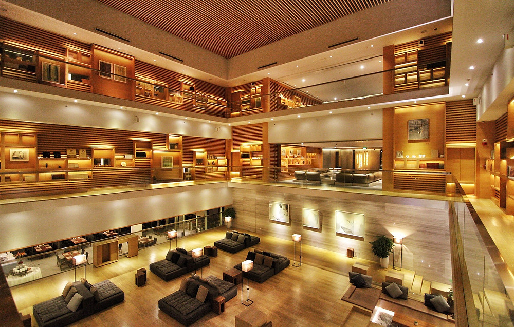 Stylish hotel lobby interior.