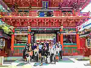 Group photo at the main gate of Kanda Shrine, Chiyoda, Tokyo, Japan
