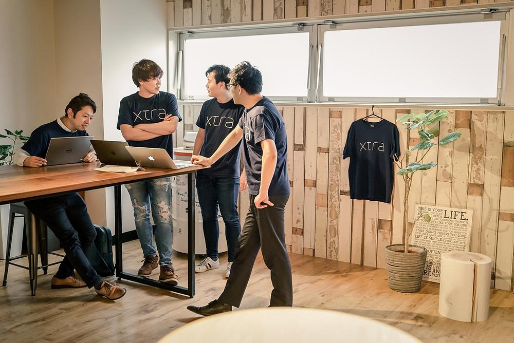 Team meeting, Xtra, Inc., Uchi-kanda, Chiyoda-ku, Tokyo, Japan