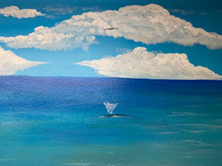 Whale and bird in Private Beach mural