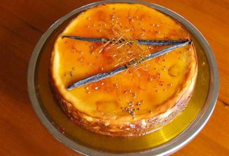 Saffron Poached Pear Cheesecake