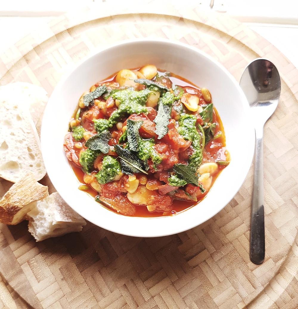 Easy Iberian Chorizo & Butter Bean Stew with Coriander Pesto