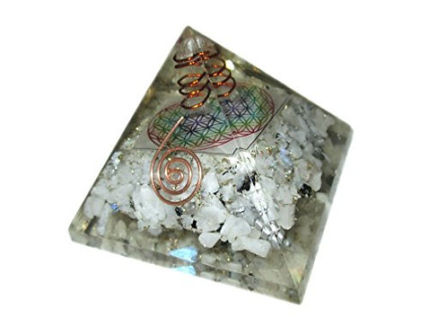 Crystal: Reiki Charged Rainbow Moonstone Flower of Life Pyramid