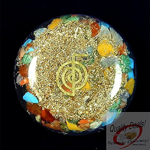 Crystal: Reiki Charged Chakra Orgonite Orgone Dome Disk with Cho Ku Rei Symbol