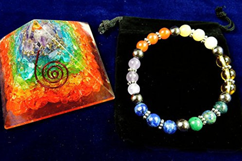 Crystal:  Reiki Charged Chakra Pyramid with Grounding Bracelet