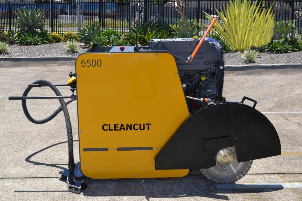 Cleancut 6500 Floor Saw with vacuum attachment - side view