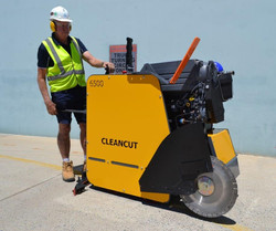 Bob Irvine with the Cleancut 6500 Road Saw Prototype in January 2018