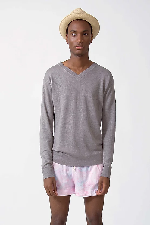 TVOP LINEN KNIT SWEATER - TAUPE