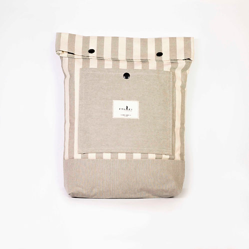 FYLAKI BEIGE STRIPPED BACKPACK