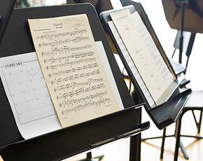 Sheet music on music stand
