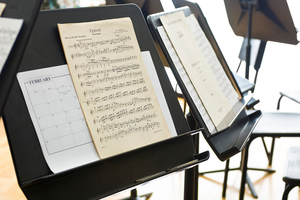 music sheets on a music stand