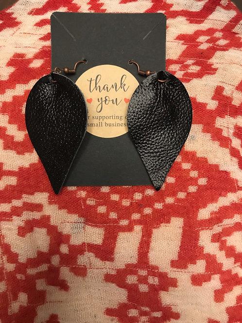 Black Pleather Earrings