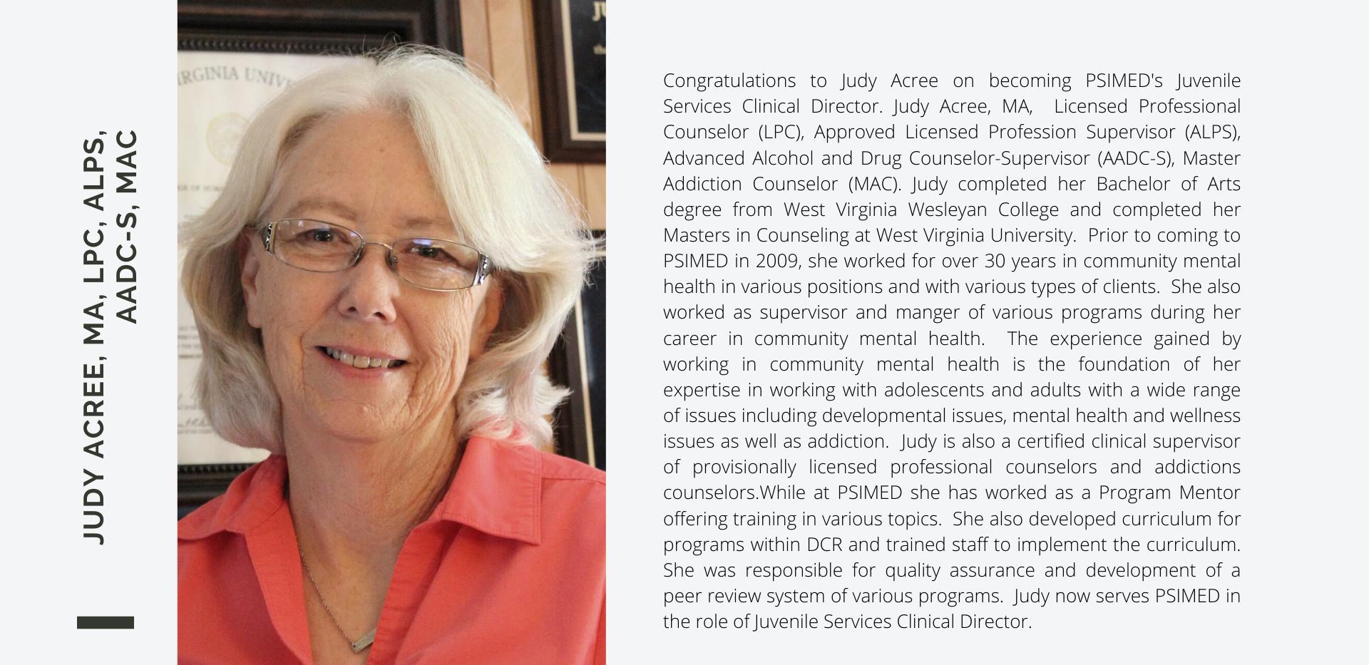 Judy Acree, MA, LPC, AlPS, AADC-S, MAC (