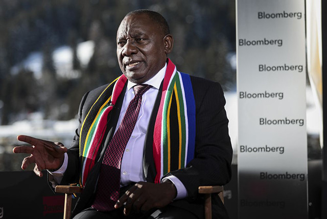 FINGER ON THE PULSE: Cyril Ramaphosa, then deputy president, speaks during a Bloomberg Television interview at the World Economic Forum in Davos, Switzerland.       PICTURE: SIMON DAWSON/BLOOMBERG