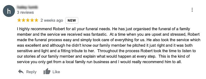 Google Review Wilsden Harden Funeral Dir
