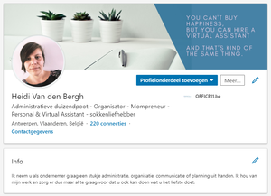 Screenshot LinkedIn profiel Heidi Van den Bergh