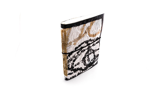 Handmade notebook with recycled plastic cover