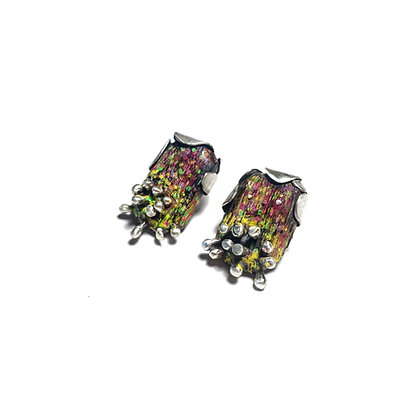 Patchwork color earrings