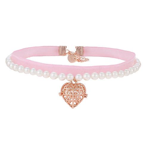 Heart Pink Ribbon Pearl Choker