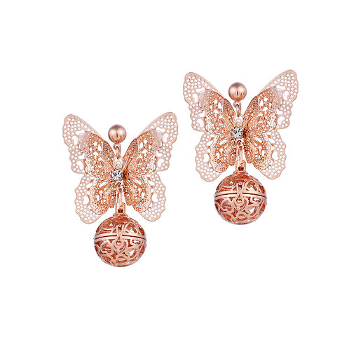 Rose Gold Butterfly Lovers Earrings