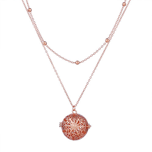 Rose Gold Beads Snowflakes Necklace