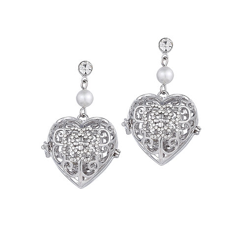 Heart White Stone Earrings