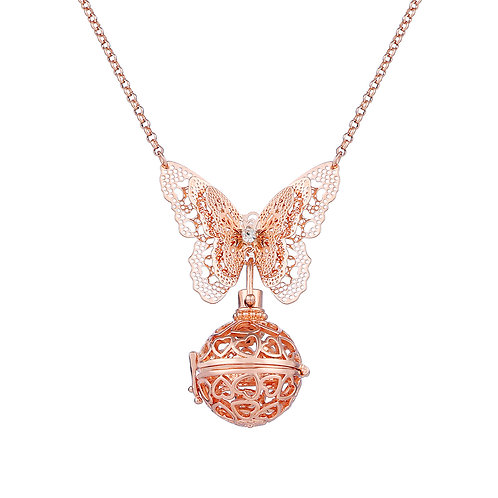 Rose Gold Butterfly Lovers  Necklace