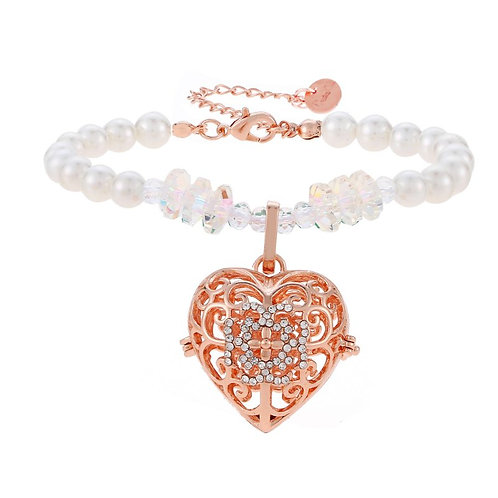 Rose Heart Crystal Pearl Bracelet