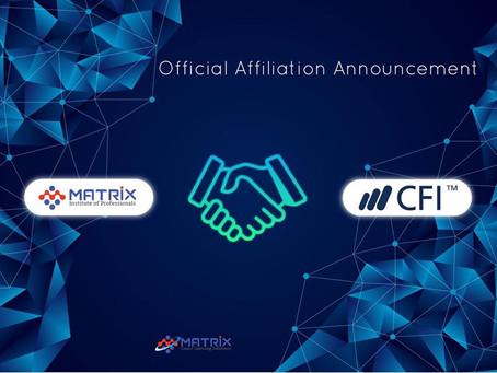 Congratulation Matrix Institute of Professionals for affiliation with Corporate Finance Institute