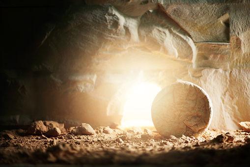 Empty tomb of Jesus Christ with light. B