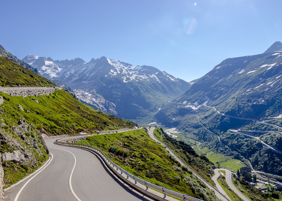 summer day on the Grimsel Pass in the Swiss Alps