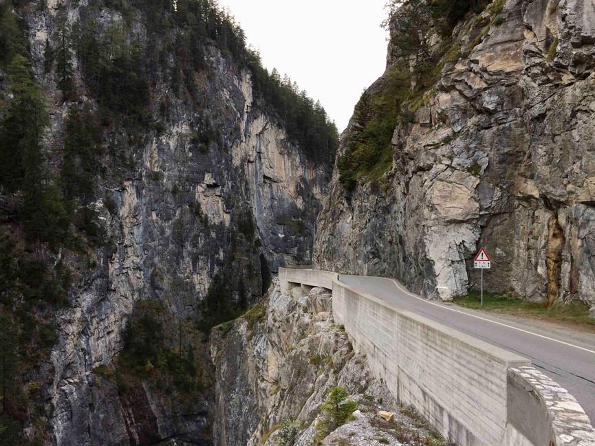 narrow gorge of the Albula Pass