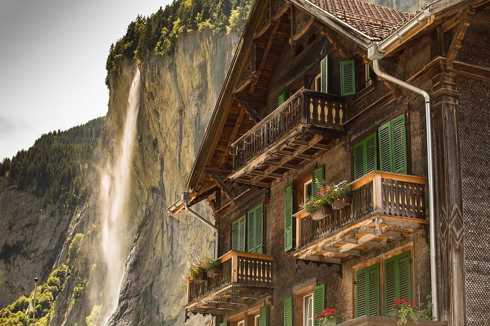 Staubbach Falls in beautiful Lauterbrunnen