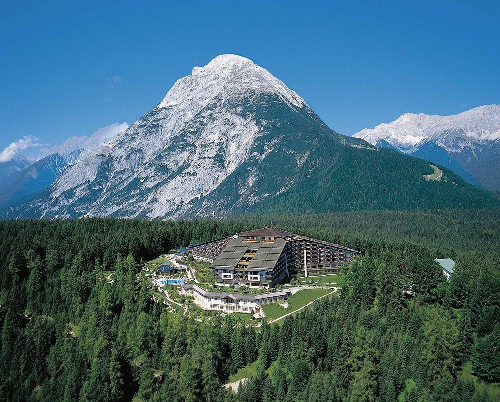 Interalpen Hotel in Telfs with mountain in backround