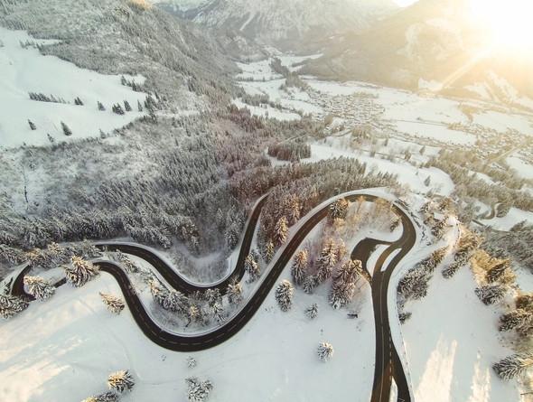 Birdeye view on Oberjoch Pass in Bavaria after snowfall