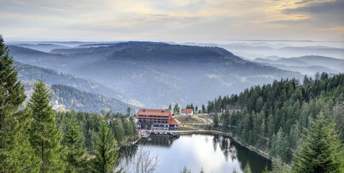 Aerial view over Lake Mummselsee in the Black Forest